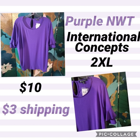 INC International Concepts Tops - Purple top with ruffled bell sleeves